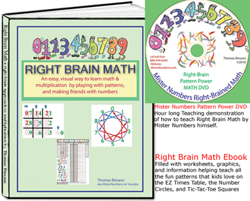 Right Brain Math Book and Ebook and MisterNumbers DVD